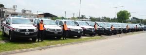 Los 16 móviles policiales que llegaron a Escobar